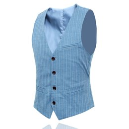 $enCountryForm.capitalKeyWord Australia - Blue black mens striped suit vest slim fit fashion casual vests Asian size S-5XL Waistcoat