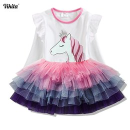 $enCountryForm.capitalKeyWord Australia - Vikita Girls Princess Dresses Kids Cartoon Vestidos Children Autumn Dress Kids Dress For Girls Long Sleeve Unicorn Dresses MX190725