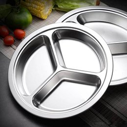$enCountryForm.capitalKeyWord NZ - 24 26 28CM Stainless Steel Fast Food Tray Restaurant Hotel 3-Grid Round Snack Tray Kitchen Canteen Dining Plate