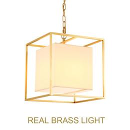 American Brass Lighting Australia - European American golden square cube copper brass LED pendant lamp light fabric square frame modern LED hanging chain light lamp