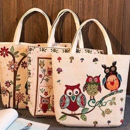 Cute Canvas Handbags Australia - Canvas Cute Cartoon Floral Owls Print Shoulder Bag Retro Women Handbags Tote Big Capacity Shopping Bags Fa$b Women Bag