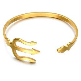 Aço inoxidável casal garfo pulseira de titânio aço ajustável pulseira aberta em Promoção