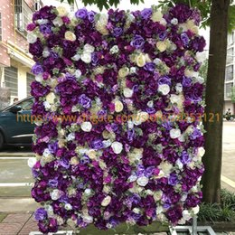 wholesale roses plants Australia - 12pcs lot Artificial Flower Wall Wedding Background Purple Ivory Rose Peony Lawn Pillar Fake Flower Plate Road Lead Home 3D
