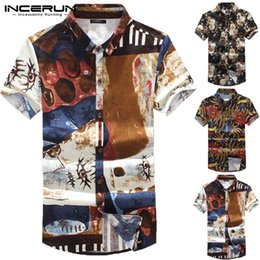 floral print cotton Australia - INCERUN Fashion Men Shirt Cotton Floral Print Short Sleeve Camisa Slim Fit Tops Streetwear Casual Hawaiian Brand Shirts Men 2019