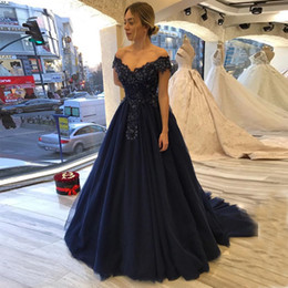 7788d6b103 Off Shoulder Long Prom Dresses Boat Neck Short Sleeves Appliques Beaded Navy  Blue Women Formal Party Dress Chapel Train