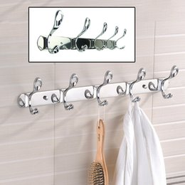 Discount bathroom towels storage - 1 3 5 6PCs Kitchen Bathroom Towel Clothes Hooks Rack Stainless Steel Wall Mounted Hooks Home Storage Organizer