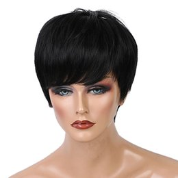 hair bangs extensions 2019 - Real Human Hair Wigs For Women,Natural Straight Hair Black Wig With Bangs,Hair Styling Accessories Extensions Wigs cheap