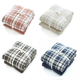 Navy Red Bedding Australia - 100% Soft Washed Cotton Bedding Set Plaid Check Checkered Duvet Cover Set Bed Linen Pillowcase 4pcs Blue and White Brown Red