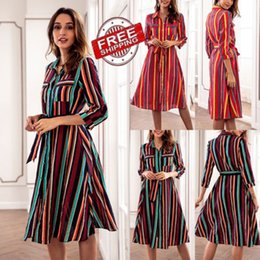 $enCountryForm.capitalKeyWord Australia - 2018 New Fashion Colorful Stripe Dress Women Long Sleeve Stripe Lace Up Dress Party Evening Party Lady Casual Loose Sundress