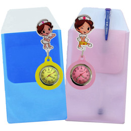 hospital cartoons NZ - Hot cartoon 3D colourful nurse pocket Retractable watches Leak-Proof PVC pen bags case ladies women doctor mens hospital watches