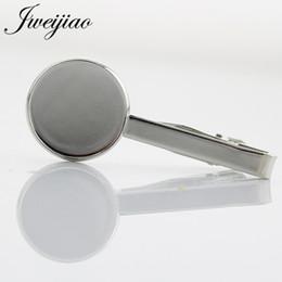 Clip Glasses NZ - 10pcs lot Necktie Tie Bar Man's Simple Silver Color Metal Tie Clip Cameo Base,Fit 20mm Glass Cabochon Charm DZ44