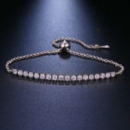 Bracelet White Rose Australia - racelet brand LZX Brand Cubic Zirconia Bracelet & Bangles Femme For Women Rose White Gold Color Fashion Crystal Bead Jewelry Pulseras...