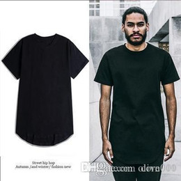Extended Tee Mens Australia - 2019 Curved Hem Hip Hop T-shirt Men Urban Extended T shirt Plain Longline Mens Tee Shirts Male Clothes
