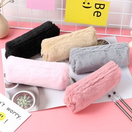 kawaii bedding NZ - Cute Solid Color Plush Pencil Case For Girls Pencil Bag Stationery Pencil's Cases Kawaii School Supplies s3