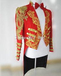 Wholesale tuxedo dancing costume resale online - Shining Gold Trims Tuxedo For Men Chains Jacket Embroidery Stage Performance Circus Wear Costume Outerwear Male Singer Outfit