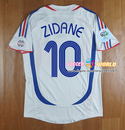 france away soccer jersey NZ - Retro France soccer jersey 2006 final France Away white 10# zidane 12# henry Djorkaeff Deschamps Football uniform Top quality size S-XXL