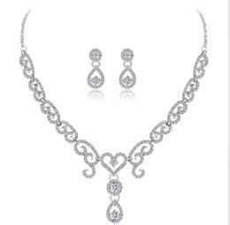 $enCountryForm.capitalKeyWord NZ - Bride's Bride Marriage Bright Alloy Necklace Set with Diamond Insert