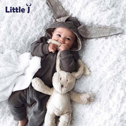 $enCountryForm.capitalKeyWord Australia - Little J Baby Warm Bunny Ear Rompers Autumn Winter Infant Rabbit Style Jumpsuit Cotton Boys Girls Hare Playsuits Hooded Clothes J190712