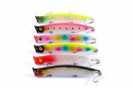 topwater lures Australia - New High flash fish scale Topwater Popper fishing lure 11.1cm 13.2g Lifelike Laser bait with 3 VMC Feather hooks