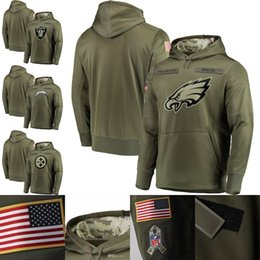 99d041d22 Men's Oakland Philadelphia Pittsburgh Eagles Steelers Raiders Chargers  Olive Salute to Service Sideline Therma Performance Pullover Hoodie