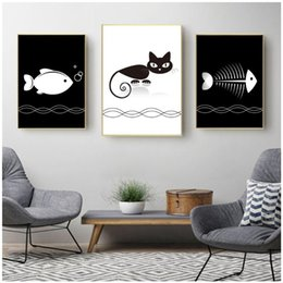 girl cat painting 2020 - Scandinavian Baby Girl Room Decor Canvas Art Posters Print Wall Picture For Kids Room Cat Decoration Nordic Poster paint