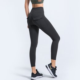 yoga pants pockets Canada - 2020 Women Solid With Pockets Yoga Pants High Waist Leggings Sports Yoga Trousers Elastic Push Up Sport Pants Slim Workout Wears