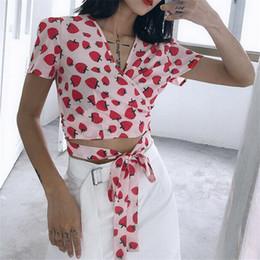 Wholesale Women Fashionable Tops Australia - Summer Women's Strawberry Printed T-shirt New Sexy V-neck Short Sleeves Bandage Tops Wear Ladies' Fashionable Short T-shirts Hot