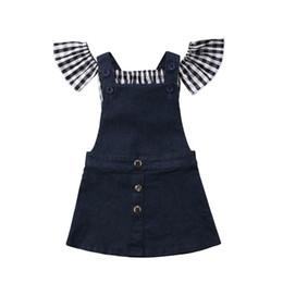 72555d82b90d US 2PCS Toddler Kids Baby Girl Summer Plaid Tops Denim Bib Dress Overalls  Outfit