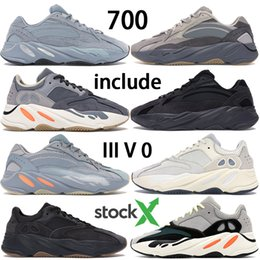 gold designer sneakers 2020 - New Kanye West 700 V2 Hostpictal Blue Yecheil Reclective Yeshaya Citrin Cloud White Black Static Running shoes women men