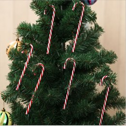 crutches wholesale Canada - 6Pcs Lot Candy Crutch Pendant Christmas Tree Decor Hanging Ornament For New Year Xmas Party Kids Gift