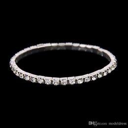 Pas cher Rangées 1 Tennis Bracelet Élégant Stretch Bride Bracelet Argent Strass Princesse De Mariage Soirée Bijoux De Tennis Bracelet
