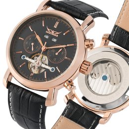 $enCountryForm.capitalKeyWord Australia - Stainless Steel Skeleton Mechanical Watch with Muti-dial,Automatic-self-winding and Leather Strap,Luxury Mechanical Wristwatch for Men Women