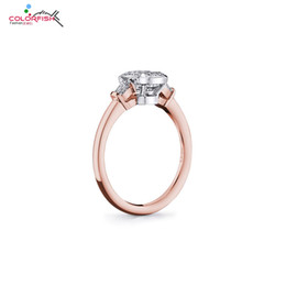 trendy roses NZ - Fashion Jewelry Rings COLORFISH Trendy 3-stone Rings For Women Two Tone 925 Sterling Silver Rose Gold Filled Square Bezel Set 2ct Synthetic