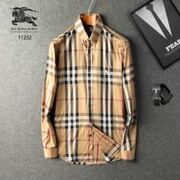 Wholesale famous designer clothes for sale – denim 2019 famous customs fit Casual PLAID shirts Popular polo embroidery business Polos shirts Men s long sleeve dress shirts Clothing S XL