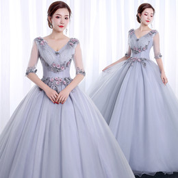 cosplay medieval Canada - 100%real silver grey half sleeve cosplay court medieval dress renaissance Gown queen Victorian  Marie  Belle Ball drama ball gown
