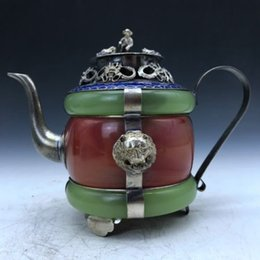 ancient chinese silver Australia - Collection of ancient Chinese carved jade inlaid bag silver jug   teapot b350