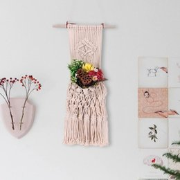 bag hand printed flowers NZ - Nordic Style Hand-woven Tapestry Flower Pot Hanging Net Bag Wall Hanging Basket Bohemian Tassel Tapestry Wall