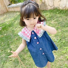 girls watermelon collar dress Canada - Baby Girl Princess Dress Summer Dress 2020 New Girls Denim Girls Watermelon Turndown Vest Dresses