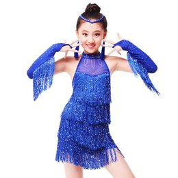 Wholesale ballroom dresses for tango resale online - Children Professional Latin Dance Dress for Girls Ballroom Dance Competition Dresses kids Modern Waltz tango Cha Cha Costumes