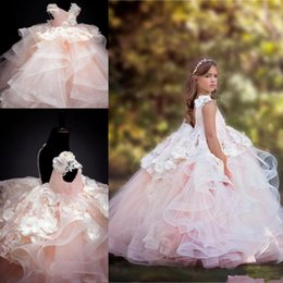 pink little princess gown NZ - Blush Pink Ball Gown Flower Girls Dresses with Ruffle Tiered Skirt 3D Floral Girl Pageant Gown Little Princess Birthday Communion Party Gown