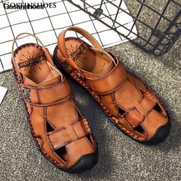 man leather closed toe sandals Canada - Man Shoes Sandales Genuine Leather Casual Beach Sandals Closed Toe Men Erkek Sandalet Sandalias De Hombre
