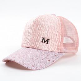Wrinkle Hat Australia - M Letter Cap Summer Mesh Baseball Caps Girl Wrinkle Snapbacks Fashion Hip Hop Cap Hat Couples Flat Cap Hats GGA2015