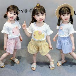 $enCountryForm.capitalKeyWord Australia - Summer Toddler Girl Clothes Animals Fish T-Shirt + Plaid Skirt Pants Set Baby Falbala Short Sleeves Stylish Clothes for Girls Tracksuit