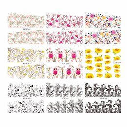 yellow flowering vines NZ - YZWLE 1 Sheet Optional Classic Fashion Flower Owl Dandelion Vine Pattern Water Transfer Stickers Decals For Nails Beauty