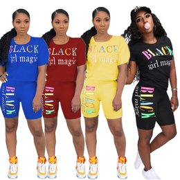 $enCountryForm.capitalKeyWord NZ - Women Two Piece Outfits Designer Tracksuits Black girl magic Color letter printed Luxury T shirt + Shorts Sets Summer Women Clothes C7801