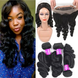 Wholesale 9A Peruvian Virgin Hair Loose Deep Wave Lace Frontal Closure With Bundles Human Hair Weaves With Full Lace Band Frontal Hair Extension
