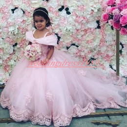 girls first birthday tutu Australia - Princess Pink Lace Tulle Flower Girls' Dresses Train 2020 Girls Birthday Formal Gowns First Communion Dresses Kids Tutu Pageant For Wedding