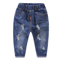 denim style for babies 2019 - New big boys Ripped Jeans baby boy fashion long denim pants kids causal trousers for 2-6 years cheap denim style for bab