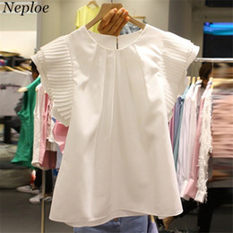 new women blouse korean NZ - Neploe Solid White Summer Women Blouse O-neck Short Sleeve Pleated Female Blusas 2019 New Korean Fahion Loose Casual Blusa 67747 MX190714