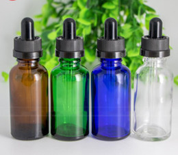 Chinese  China Factory 30ml Glass Oil Droppers 1oz Blue Green Clear Amber Glass Liquid Reagent Pipette Bottles DHL Free Shipping manufacturers